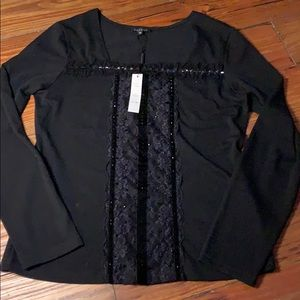 Panilli new black beaded long sleeve blouse M